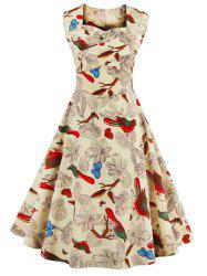 Sleeveless Flower Print Vintage Swing Dress -