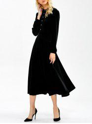 Long Sleeve Button Velvet Midi Dress