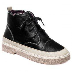 Stitching Colour Block Tie Up Ankle Boots -