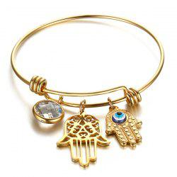 Gold Plated Rhinestone Devil Eye Palm Bracelet