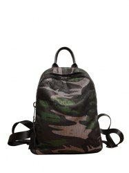 Camouflage Print Mesh Panel Backpack -