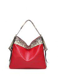 Snake Pattern Panel PU Leather Shoulder Bag -