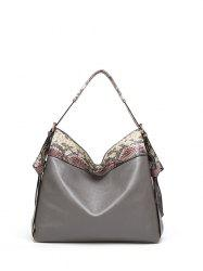 Snake Pattern Panel PU Leather Shoulder Bag