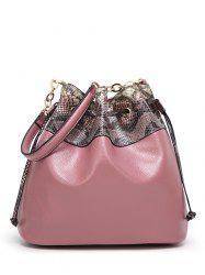 Snake Pattern Panel Drawstring Bucket Shoulder Bag