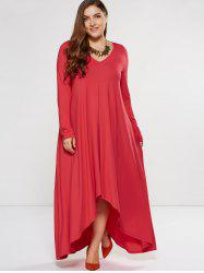 Plus Size Asymmetrical Smock Maxi Dress With Long Sleeves