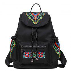 Pockets Drawstring Embroidery Backpack