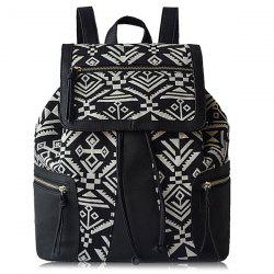 Tribal Pattern PU Leather Panel Backpack