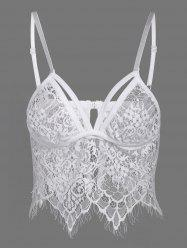 Back Closure See Through Lace Seamless Bustier Bra - WHITE