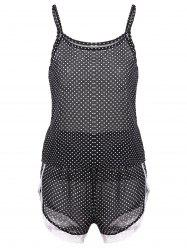 Polka Dot Cami Summer Pajamas Set - BLACK