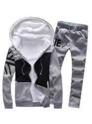 Zip Up Color Block Printed Hoodie and Sweatpants