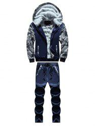 Zip Up Camouflage Panel Hoodie and Sweatpants - DEEP BLUE 4XL