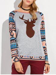 Christmas Deer Printed Raglan Sleeve Tee