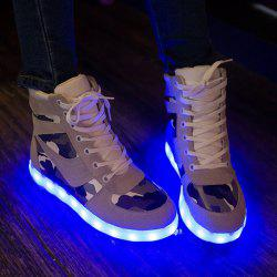 High Top Camo USB Charging Flashing Sneakers