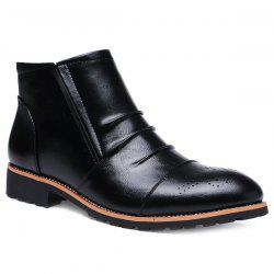 Pleated Engraving Zip Boots - BLACK