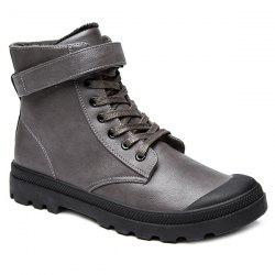Metal Tie Up PU Leather Boots -