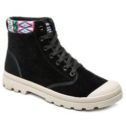 Tribe Pattern Colour Block Tie Up Boots - BLACK