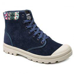 Tribe Pattern Colour Block Tie Up Boots - PURPLISH BLUE 40