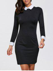 Flat Collar Sheath Mini Long Sleeve Dress - BLACK