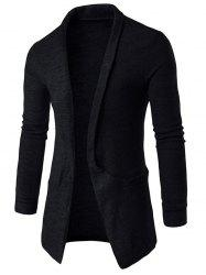 Pocket Texture Open Front Cardigan - BLACK