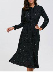 Long Sleeve Polka Dot Midi Pleated Dress