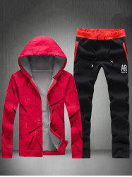 Printed Zip Up Hoodie and Sweatpants - RED WITH BLACK