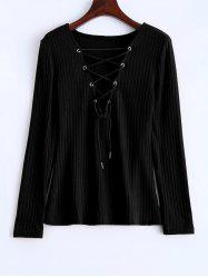 Lace Up Ribbed Jumper - BLACK