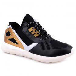 Colour Block Stretch Fabric Athletic Shoes - BLACK AND GOLDEN