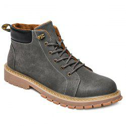 Metal Colour Block Tie Up Boots - GRAY