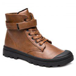 Metal Tie Up PU Leather Boots - BROWN