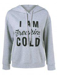 Drawstring Funny Hoodie - LIGHT GREY