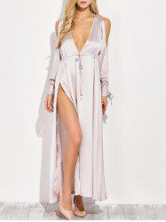 Thigh Split Plunging Neck Maxi Dress -