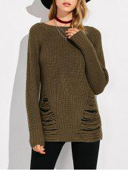 Crew Neck Ripped Sweater - ARMY GREEN