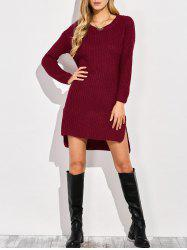 High-Low Slit Sweater Dress -