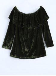 Off Shoulder Ruffles Velvet T-Shirt - GREEN XL