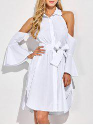 Ruffled Sleeve Cut Out Shoulder Shirt Dress - WHITE S