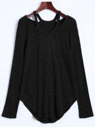 Cut Out V Neck Sweater - BLACK XL
