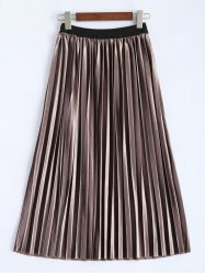 Accordion Pleat Velvet Skirt -