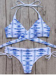 Halter Neck Printed Lace-Up Wrap Bikini - BLUE AND WHITE S