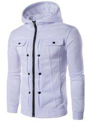 Buttoned Pleat Zip Up Hoodie -