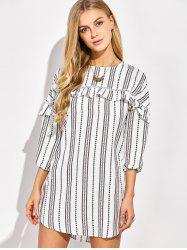 Casual Round Neck Ruffles Striped Shift Dress with Sleeves - WHITE 2XL