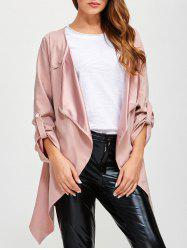 Drape Front Rolled Sleeve Coat - PINK