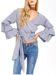 V Neck Layered Sleeve Striped Wrap Blouse - BLUE/WHITE L
