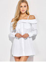 Button Up Bare Shoulder Blouse -