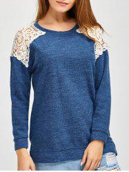 Slit Lace Spliced Loose Sweater