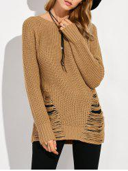 Crew Neck Ripped Sweater -