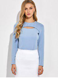 Long Sleeve Cutout Tee - BLUE GRAY 2XL