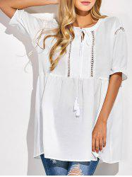 Cut Out String Loose Blouse