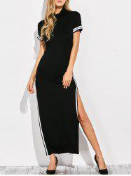 High Neck Cut Out Side Slit Maxi Dress -