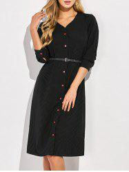 Striped Single-Breasted A-Line Dress -