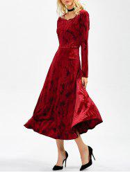 Long Sleeve Velvet Tea Length Flowy Party Dress -